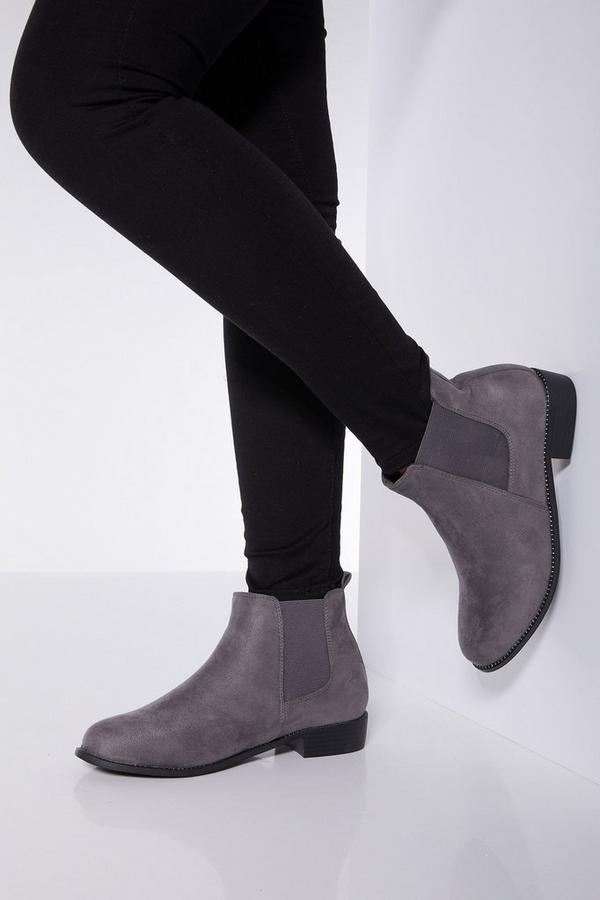 Wide Fit Diamante Chelsea Ankle Boots