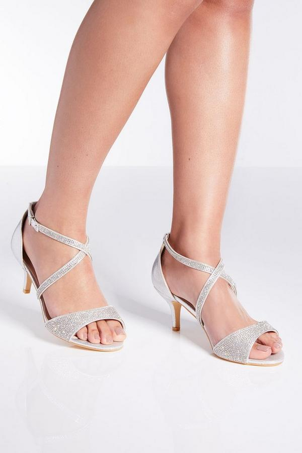 Wide Fit Silver Shimmer Heeled Sandals