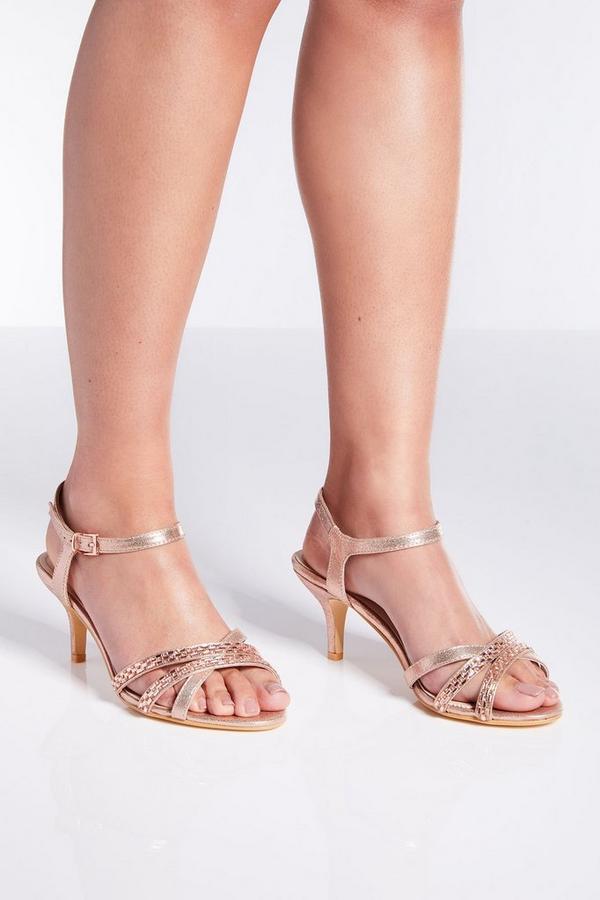 Wide Fit Rose Gold Satin Low Heel Sandals