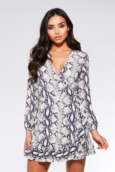 TOWIE Cream and Black Snake Print Wrap Dress