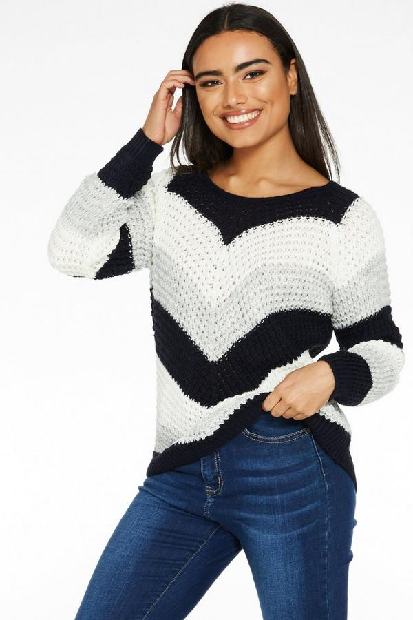 Navy Cream and Grey Stripe Jumper