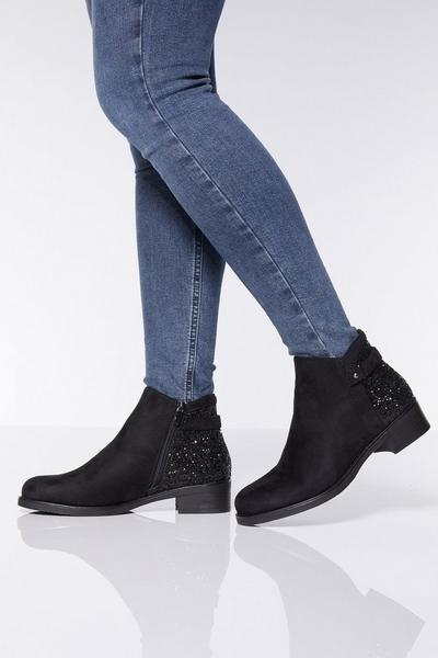 Black Glitter Back Ankle Boots