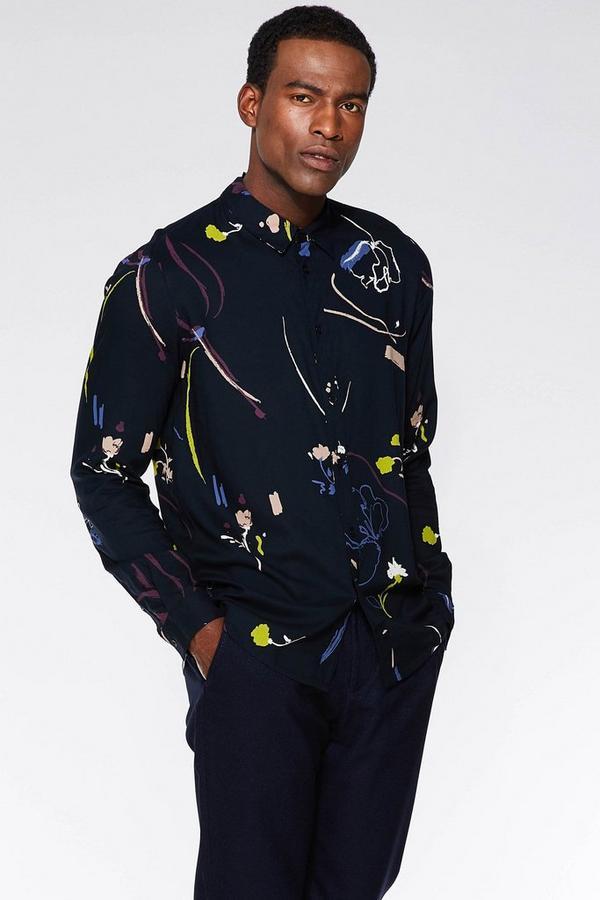 Navy Floral Viscose Long Sleeve Shirt