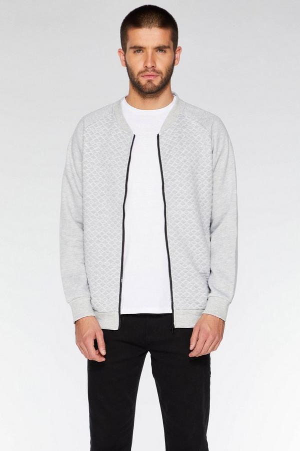 Grey Quilted Zip Through Bomber Jacket