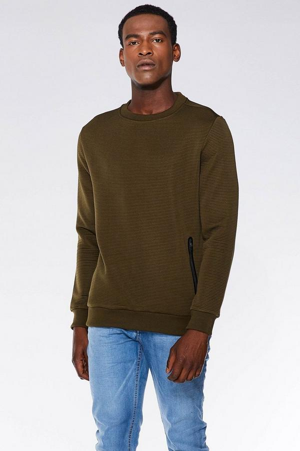 Khaki Quilted Over Head Jumper
