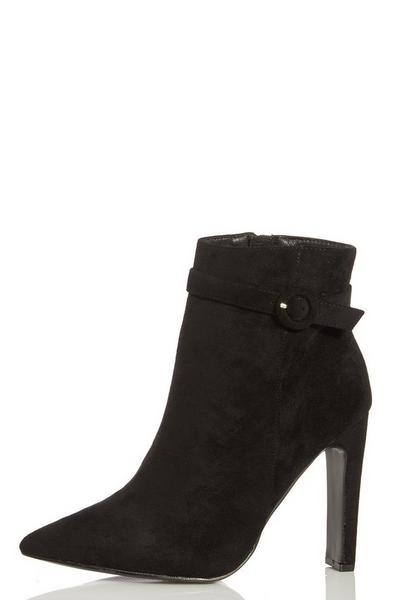Black Faux Suede Skinny Heel Ankle Boots