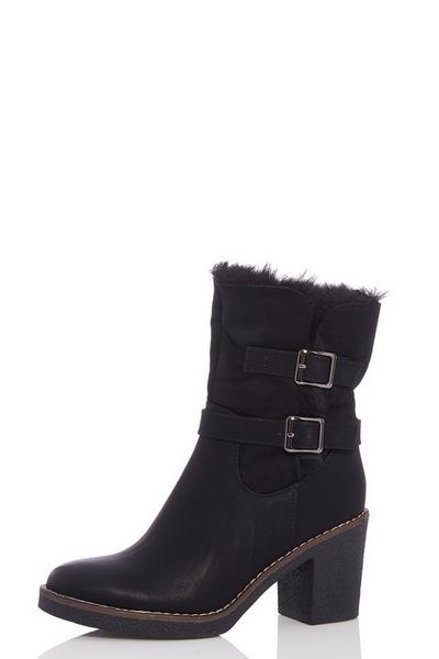Black Faux Fur Fold Over Ankle Boots