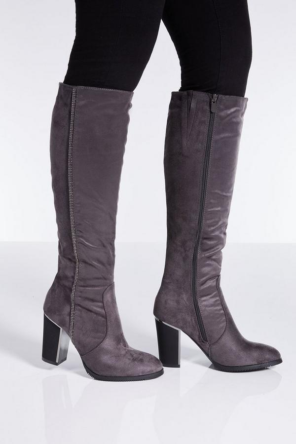 Grey Diamante Stripe Knee High Boots