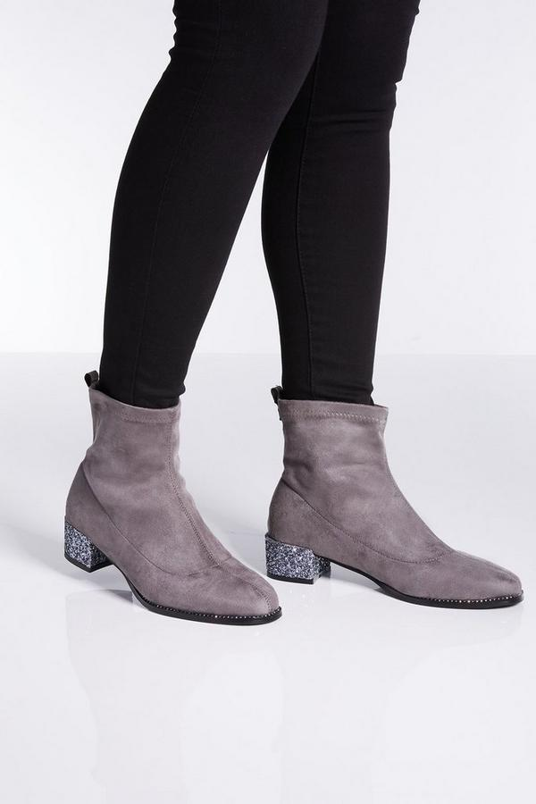 Grey Faux Suede Jewel Heel Sock Boots