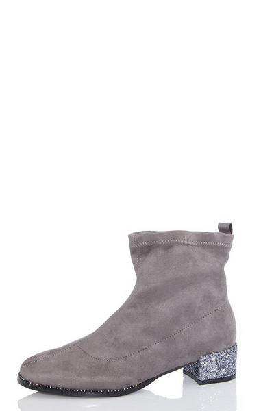 Grey Faux Suede Jewel Heel Sock Boots