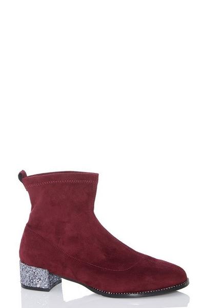 Burgundy Faux Suede Jewel Heel Sock Boots