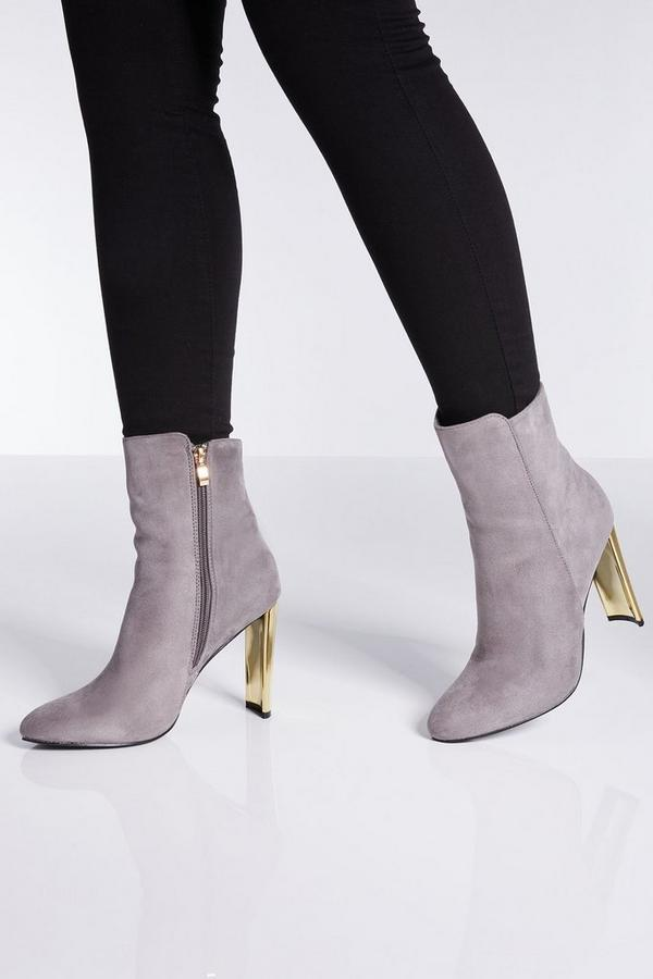 Grey Faux Suede Gold Skinny Heel Ankle Boots
