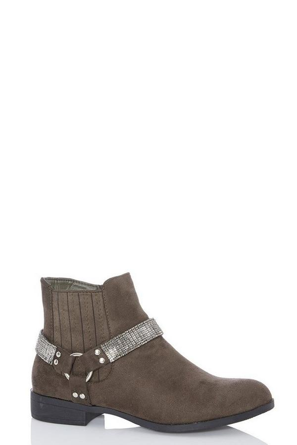 Khaki Diamante Strap Western Ankle Boot