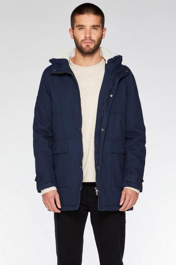 Navy Cotton Zip Parka Jacket