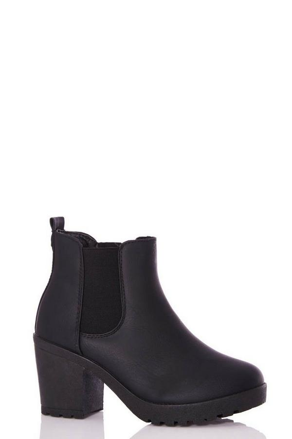 Black Faux Leather Chunky Ankle Boot