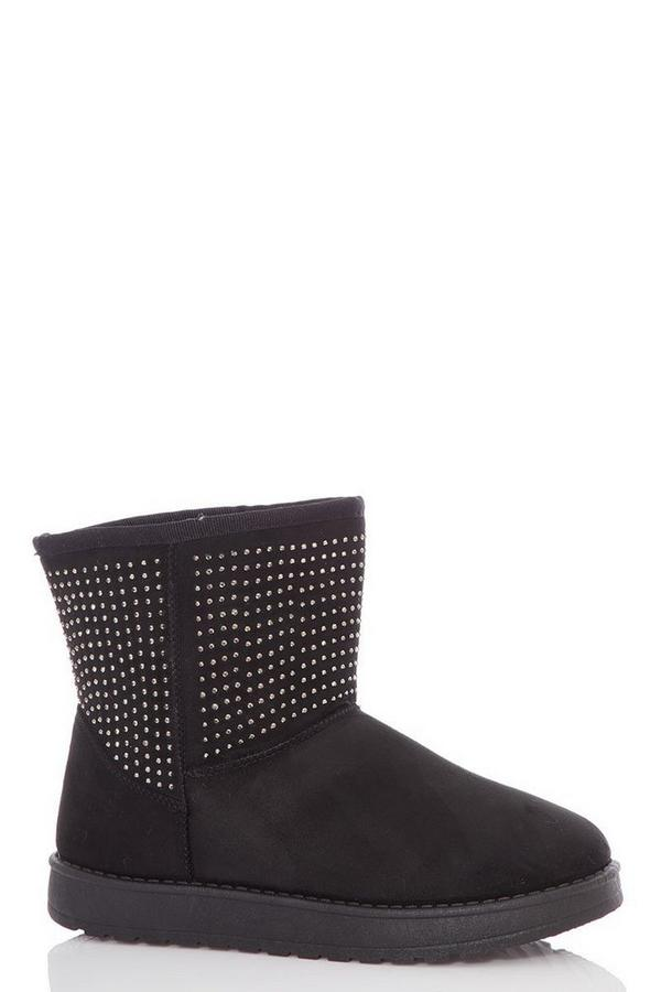 Black Flat Glitter Ankle Boots
