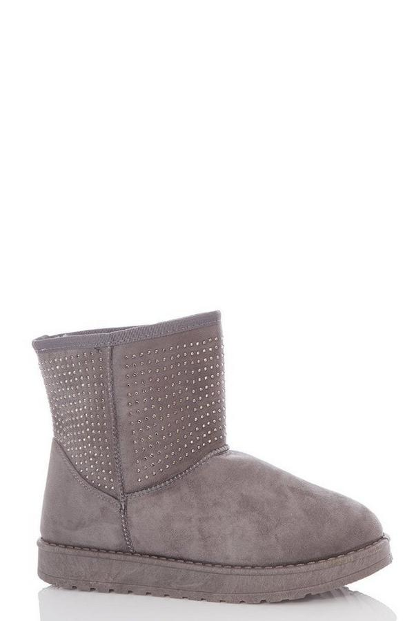 Grey Faux Suede Stud Boots