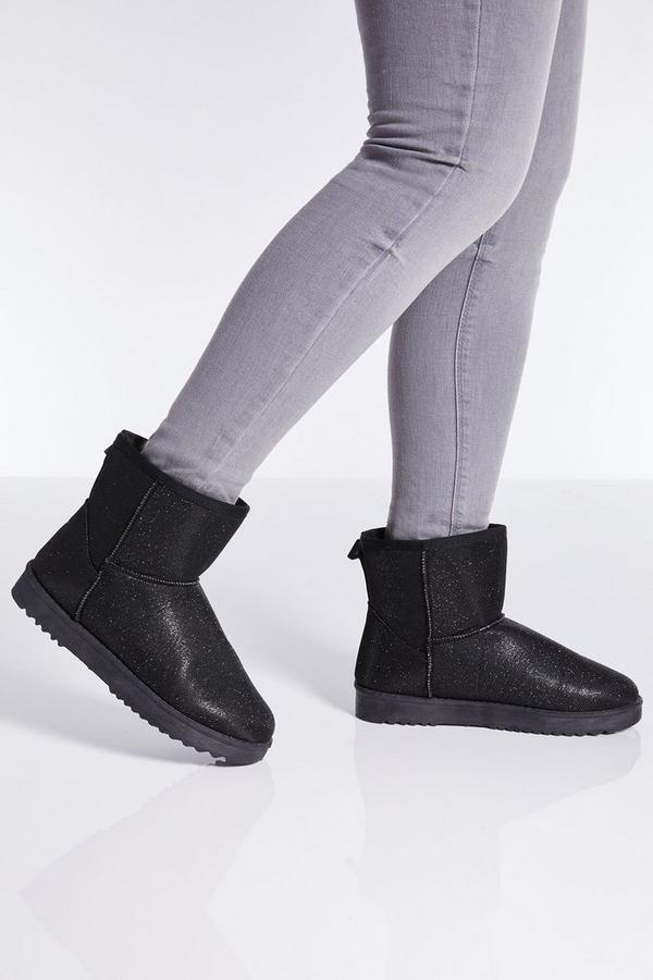 Black Glitter Ankle Flat Boots
