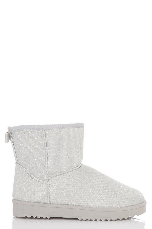 Silver Flat Glitter Ankle Boots
