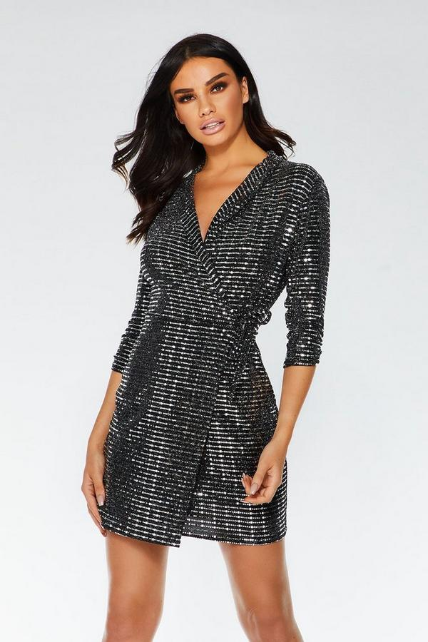 Black and Silver Sequin Wrap Dress