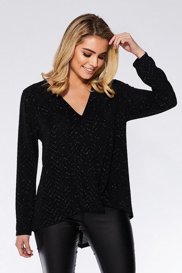 Black Glitter Wrap Front Top