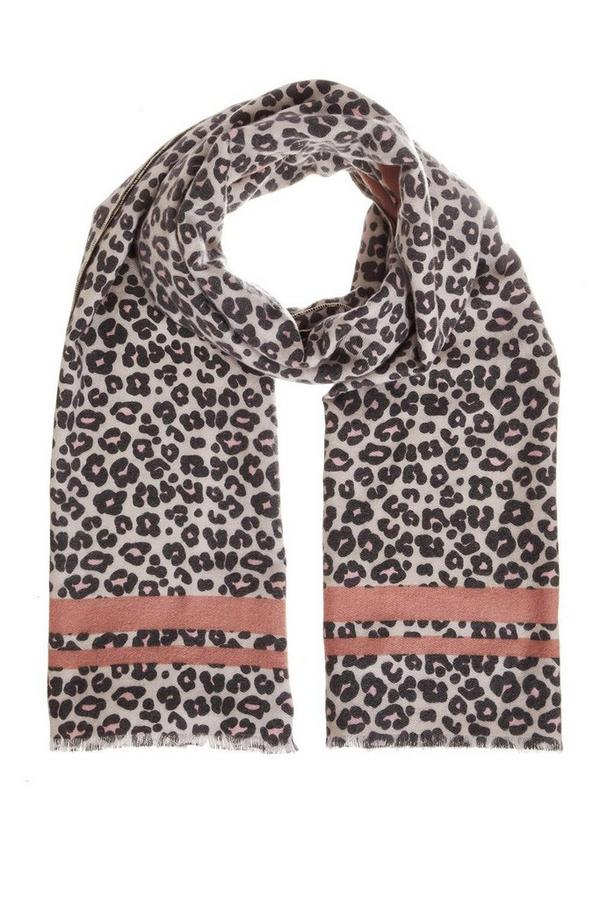 Pink And Grey Leopard Print Scarf