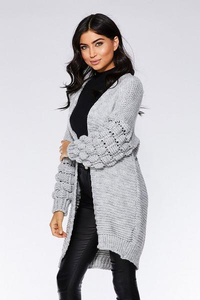 Grey Knit Bubble Long Sleeve Cardigan
