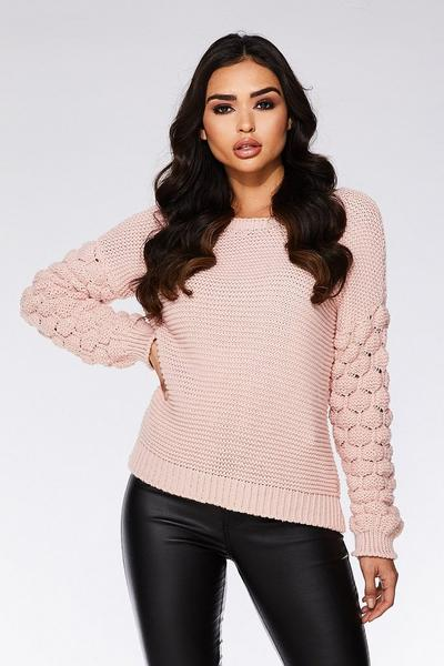 Pale Pink Knit Bubble Long Sleeve Jumper