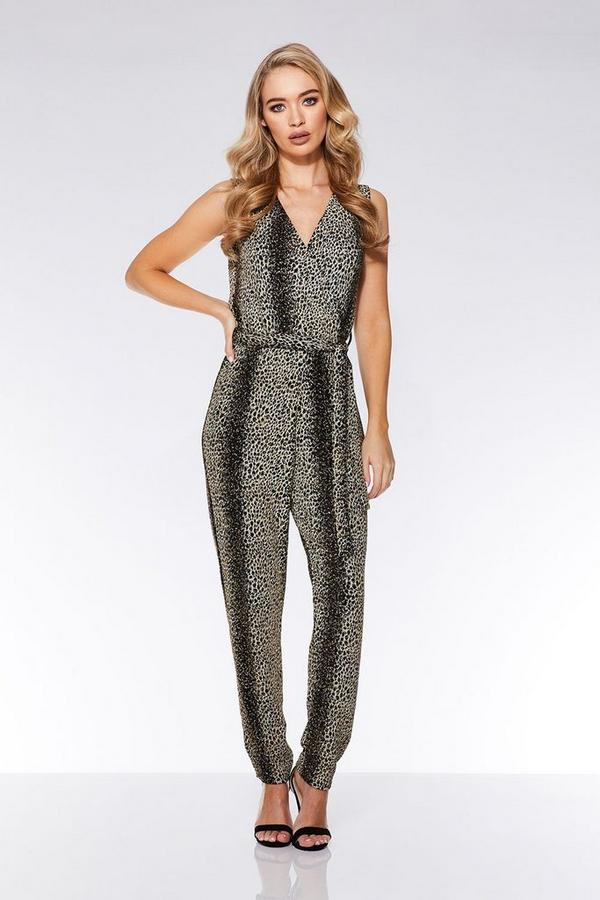 Black and Gold Glitter Leopard Print Jumpsuit
