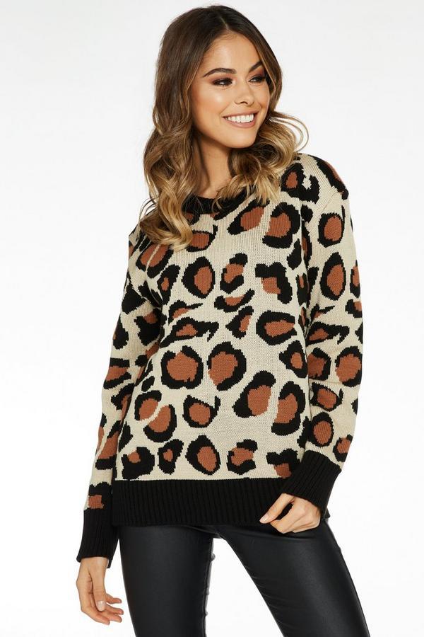 Stone And Black Leopard Print Long Sleeve Jumper