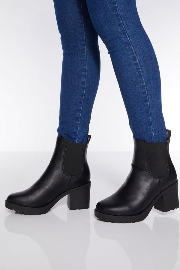 Black Chunky Heel Ankle Boots
