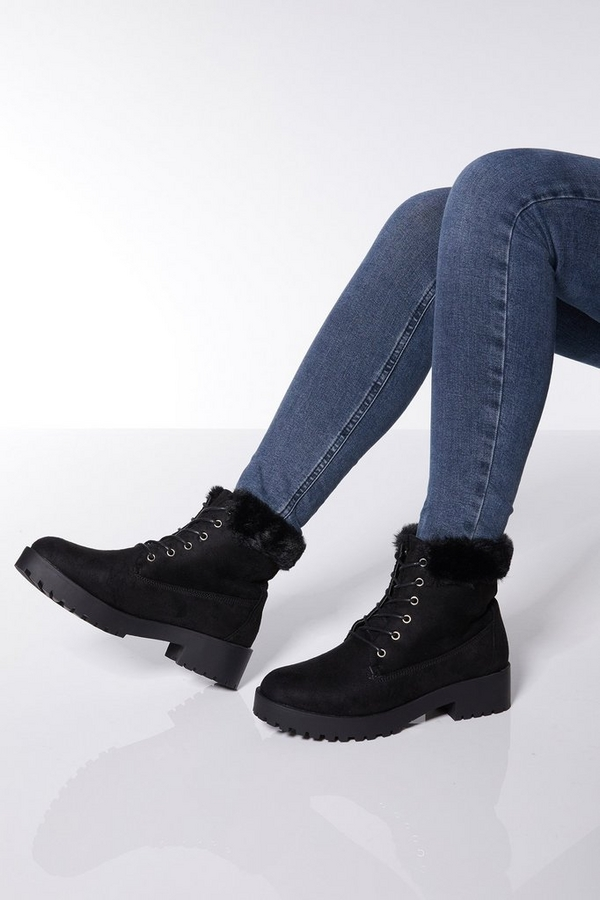 Black Faux Fur Hiker Boots