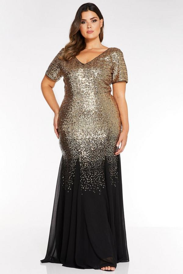 Curve Black and Gold Chiffon Sequin Maxi Dress