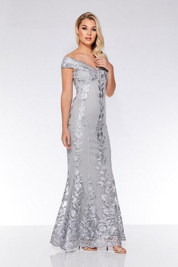 Grey Mesh Embroidered Bardot Maxi Dress