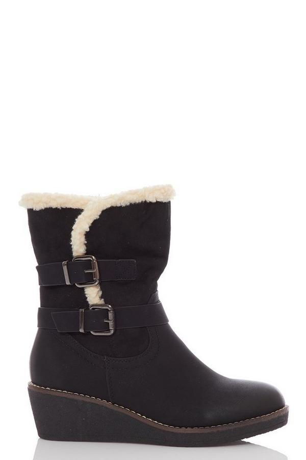 Black Faux Suede Wedge Calf Boots