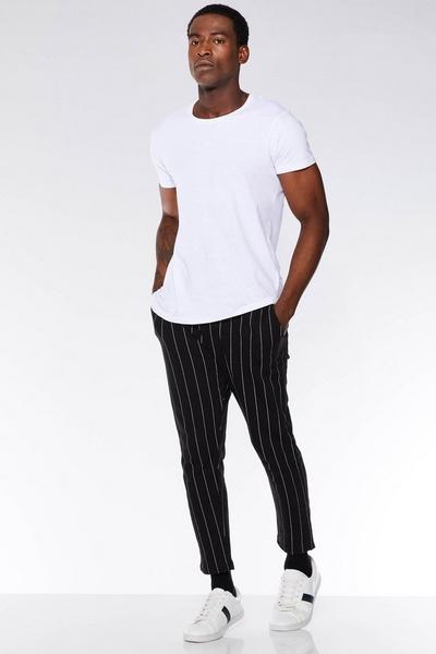 Black Cotton Pinstripe Jogger