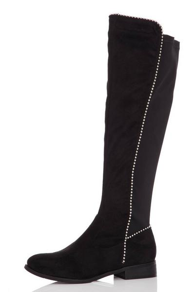 Black Stud Faux Suede Knee High Boots