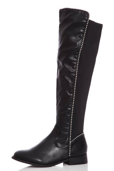 Black Stud Faux Leather Knee High Boots