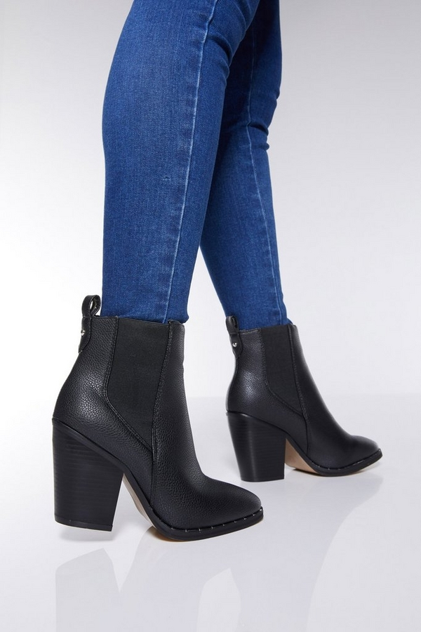 Black Faux Leather Stud Ankle Boots
