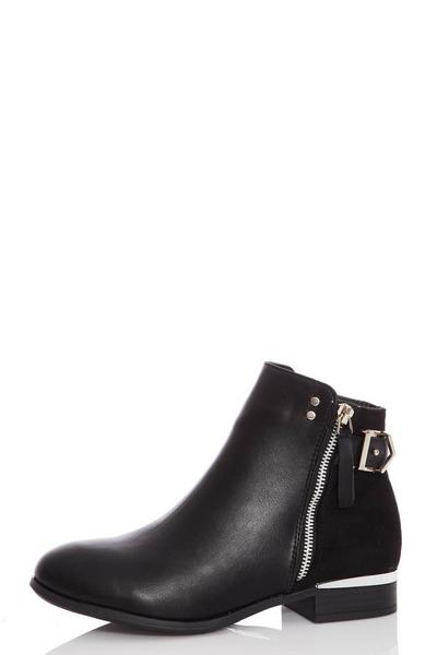 Black Faux Leather Buckle Ankle Boots