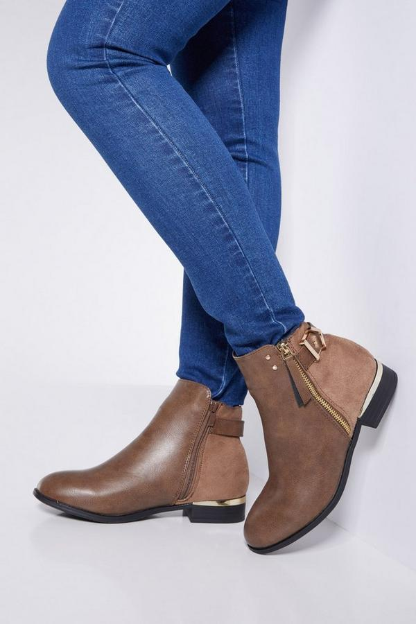 Tan Faux Leather Buckle Ankle Boots