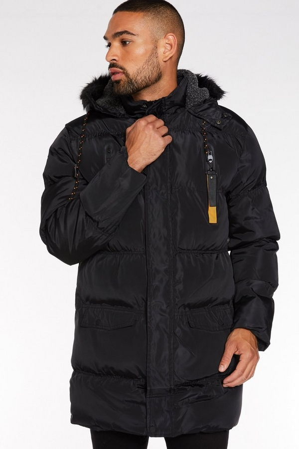Black Long Faux Fur Hooded Puffer Jacket