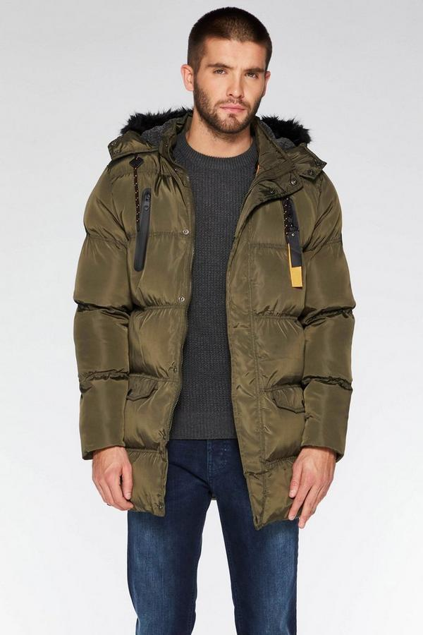 Khaki Long Faux Fur Hooded Puffer Jacket