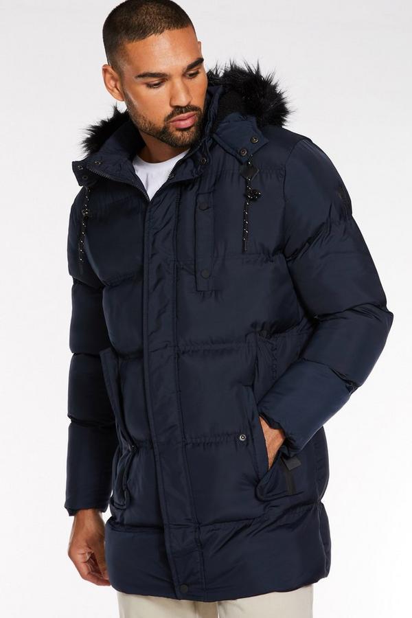 Navy Long Faux Fur Hooded Puffer Jacket