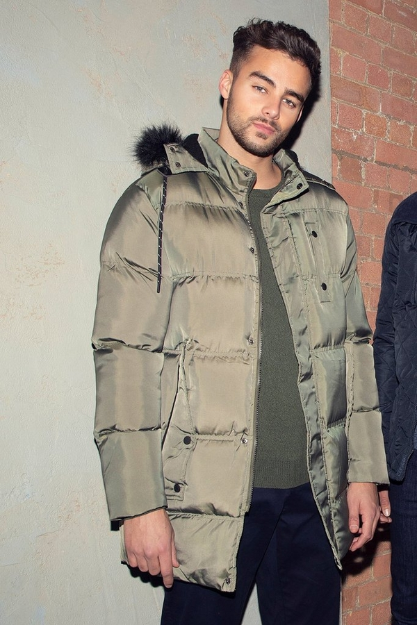 Olive Long Faux Fur Hooded Puffer Jacket