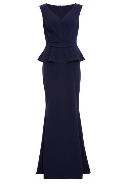 Navy Bardot Wrap Peplum Maxi Dress