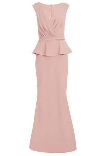Nude Wrap Peplum Maxi Dress