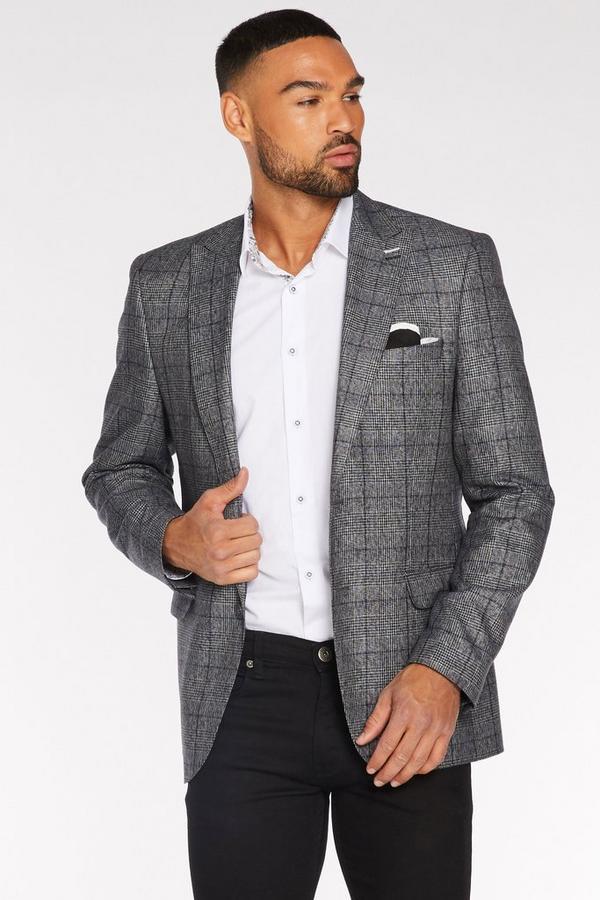 Grey & Blue Check Blazer