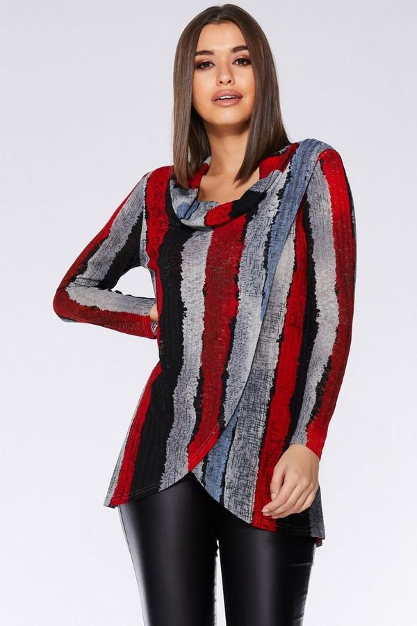 Red Black and Grey Light Knit Stripe Top