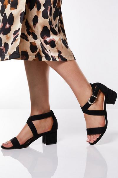 Black Strap Block Heel Sandals